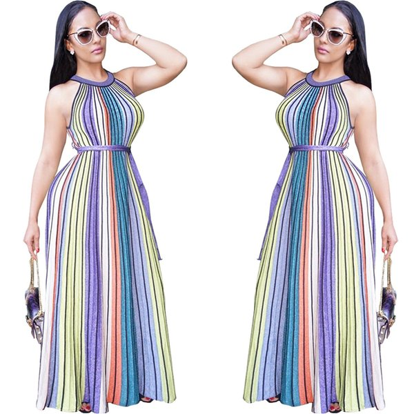 Compre Listrado Saia Das Mulheres Saias Listradas Coloridas Vestido De Saia Longa Sem Mangas Top Longo Largo Perna Calças Das Senhoras Romper De