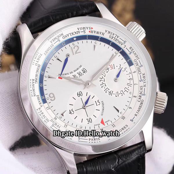 Nuevo Master Control Q1528420 Power Reserve Dial azul / blanco Reloj automático para hombre Estuche de plata Correa de cuero Gents Relojes de alta calidad