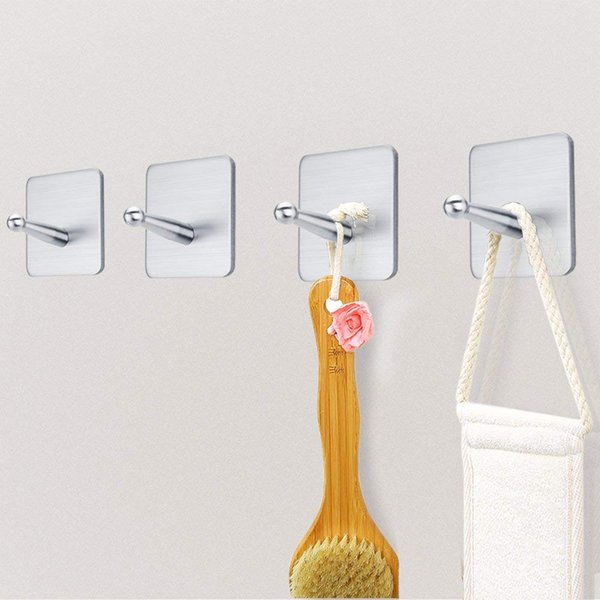 Wall Hooks Adhesive Hooks SUS 304 Brushed Stainless Steel Hook Wall Hangers Without Nails