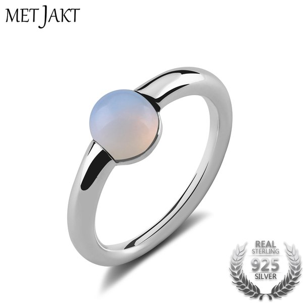 MetJakt Natural Gem Moonstone Ring Solid 925 Sterling Silver for Women Fashion Jewelry Vintage Wedding Engagement Rings Y18102610