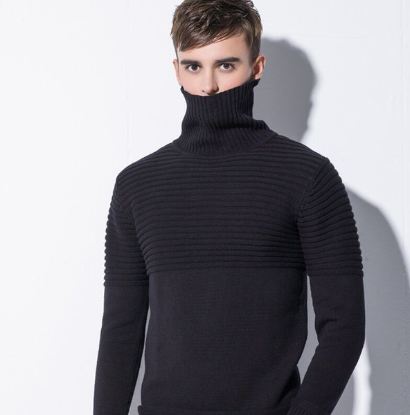 2018 Mens Turtle Neck Sweaters Rib Stitch Solid Pullovers 3 Colors Cotton Knitted Long Sleeve Sweater for Autumn and Winter