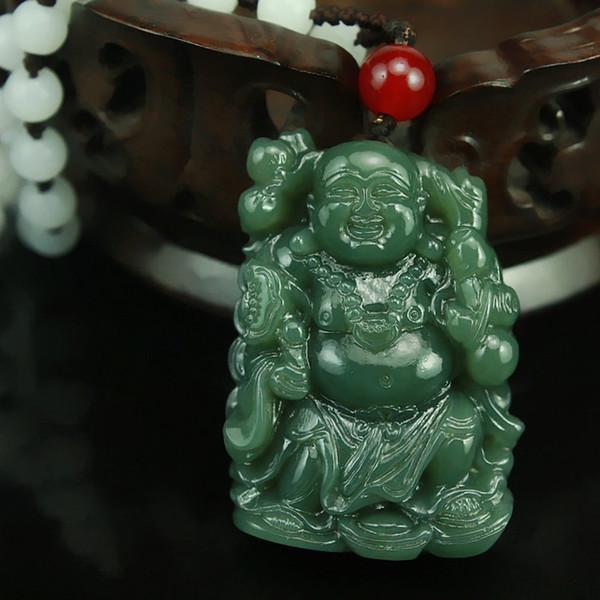 free shipp Natürliche handgeschnitzte chinesische Hetian Jade Anhänger - Grüne Jade geschnitzte Buddha Lucky Amulett Anhänger Halskette