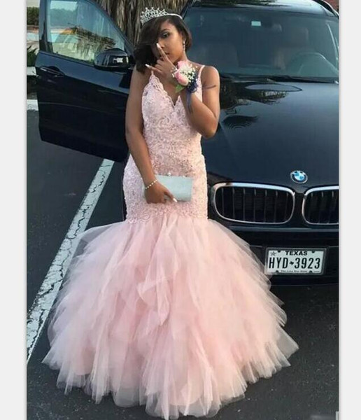 Blush Pink African Prom Dresses Deep V Neck Lace Appliques Sequins Beads Mermaid Evening Dress Plus Size Women Wear Cocktail Party Dress