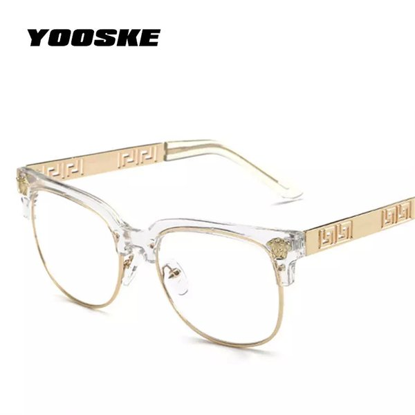 top popular YOOSKE Fashion Clear Sunglasses Women Men Optics Prescription Spectacles Frames Vintage Plain Glass Eyewear Women Brand Designer 2021