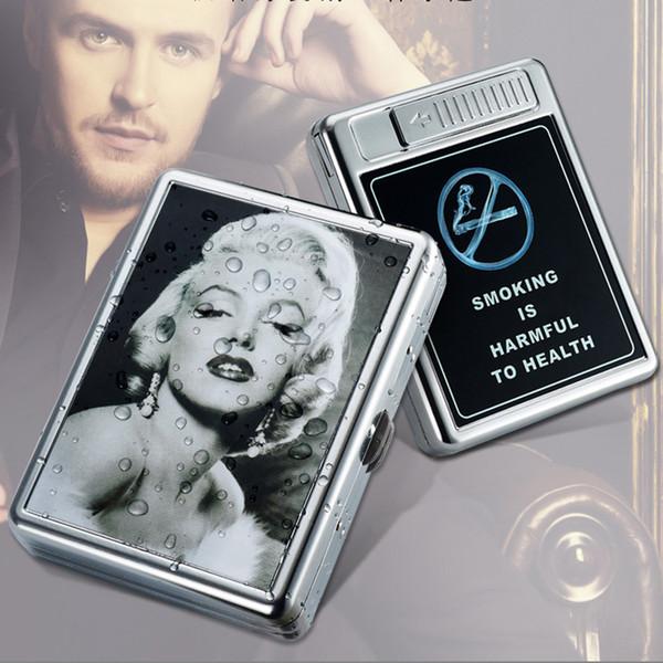 Boîte de porte-tabac de cigarettes en acier inoxydable vente chaude raffinée étui à cigarettes en métal manuel 20pcs avec navire libre rechargeable usb plus léger
