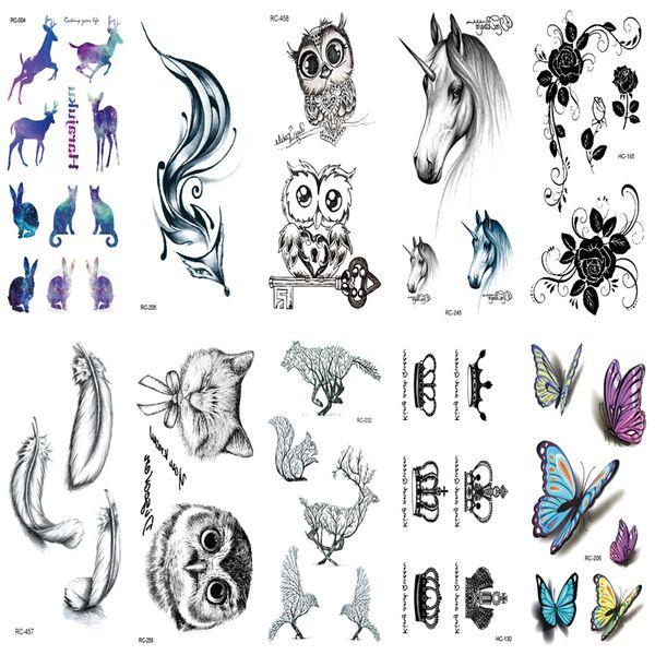 10pcs Tattoo Sleeve Waterproof Fake Tatoo Styling Stickers Snake Pistol Black Feather Arabic Temporary Tattoos Body Art Tattoo