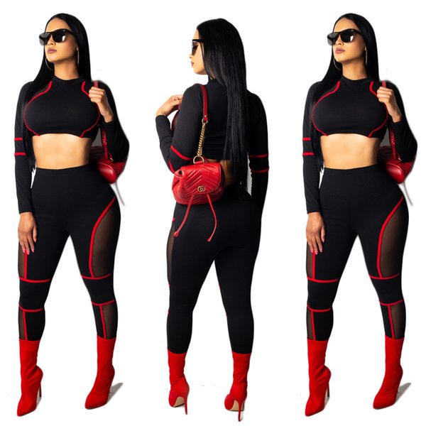 fa55aaf0f4c Womens Sexy Long Sleeve Crop Tops High Waist Leggings 2 Piece Bodycon Set  Casual Sport Outfit