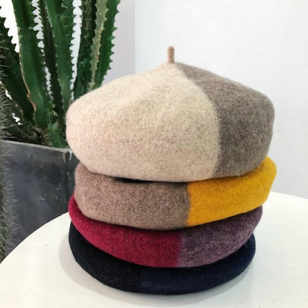 Women's Felt Beret Female Artist Warm Wool Winter Beanie Hat Newsboy Sweat Berets Hat Cap Sweet Girls