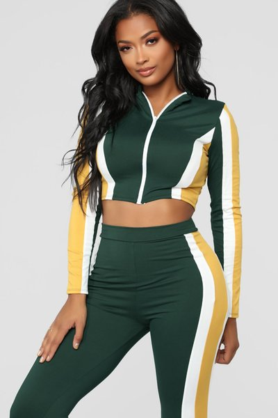 Designer Women Clothes 2019 women 2 piece pants striped tracksuit Sexy stretchy tight two piece set crop tops and pants zipper sweatsuit