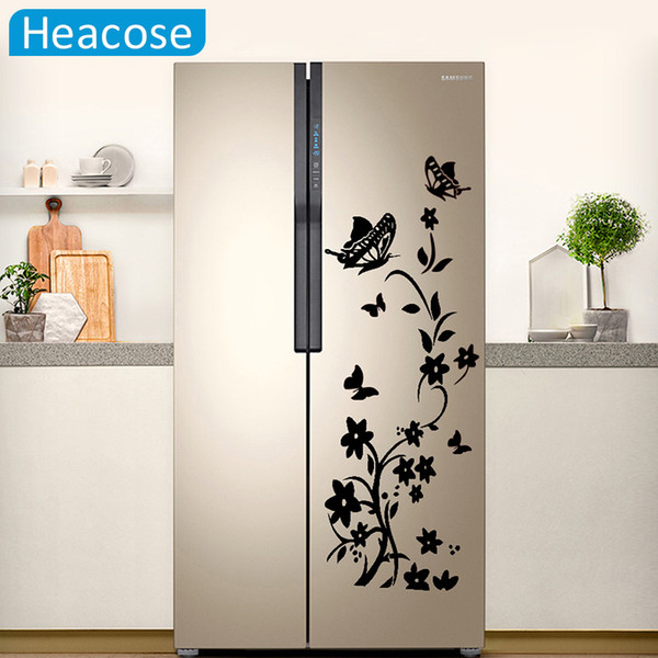 Diy Butterflies Wall Sticker For Refrigerator Flower Art Wall Decals For Kids Room Living Room Fridge Wallpaper Home Decor Train Wall Stickers Tree