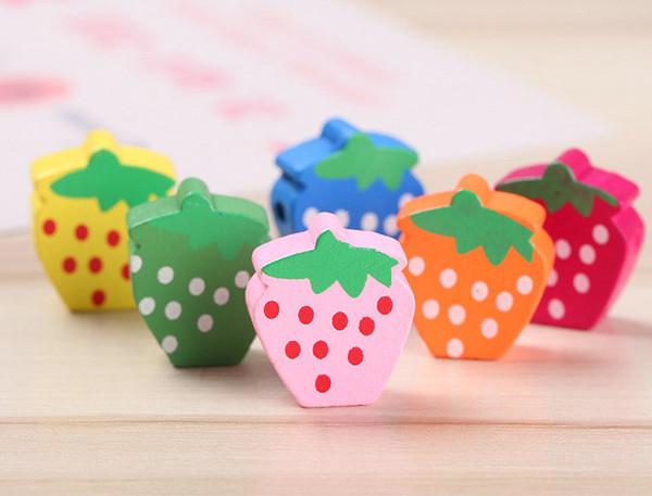 best selling 100pcs Strawberry Wood Beads Lot Craft Kids Jewelry Making 15MM