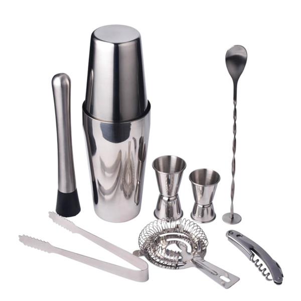 9pcs/set Stainless Steel Cocktail Shaker Mixer Drink Bartender Browser Kit Bars Set Tools Professional Bartender LZ0946