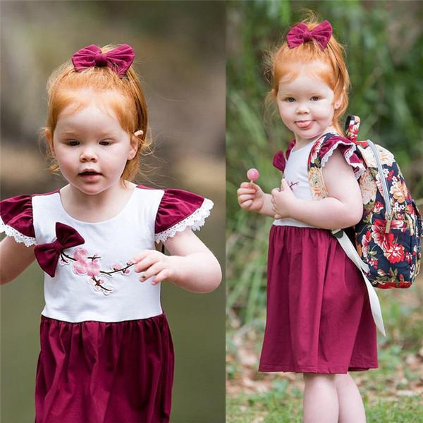 Niños Bebé Niña Ropa para niños Ruffle Sin mangas Estampado de flores de algodón sin respaldo recién nacido Fiesta de la Princesa Mini Vestidos de una pieza