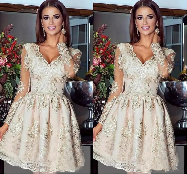 Luxury Short Mini V Neck Homecoming Dresses 2018 Sheer Long Sleeves Full Lace Beads Formal Party Gown Sweet 16 Evening Gowns Pageant Dresses
