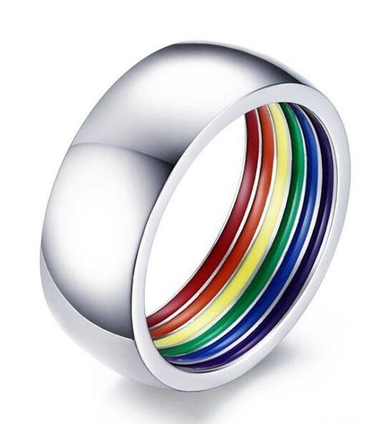 Fascia nuziale lesbica a strisce arcobaleno in acciaio inossidabile 316L con cinturino in gomma a forma di anello 7-12 vendita calda negli Stati Uniti