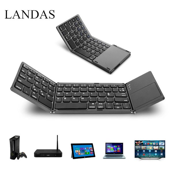 Landas Universal Bluetooth Folding Keyboard Touchpad Portable Tri Wireless Foldable Touchpad For IOS Windows Android Systems