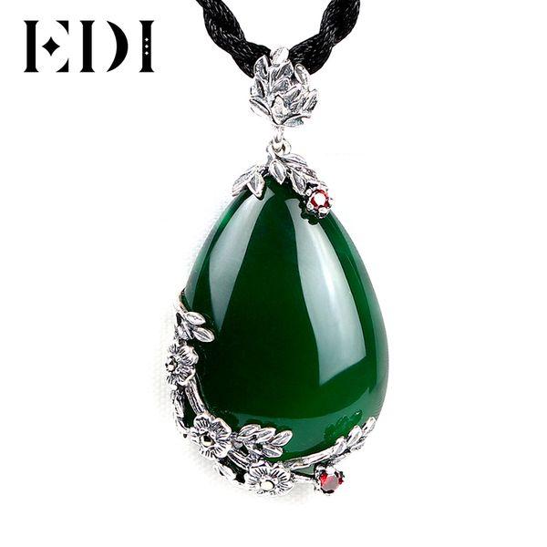 EDI Fashion Brand Vintage 925 Silver Red Royal Bohemian Granate Piedras semipreciosas naturales Colgante Collar Mujer Retro Girlf