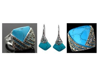 Free Shipping Vintage Blue Stone 925 Sterling Silver Marcasite Ring (#7-10) pendant and earrings sets 02