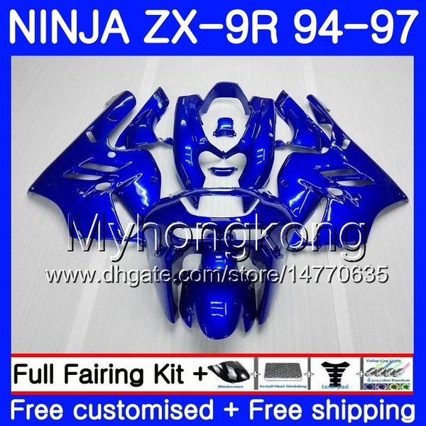 Body ALL gloss blue For KAWASAKI NINJA ZX900 ZX 9R 1994 1995 1996 1997 221HM.40 ZX 9 R 900 900CC ZX-9R 94 97 ZX9R 94 95 96 97 Fairing kit