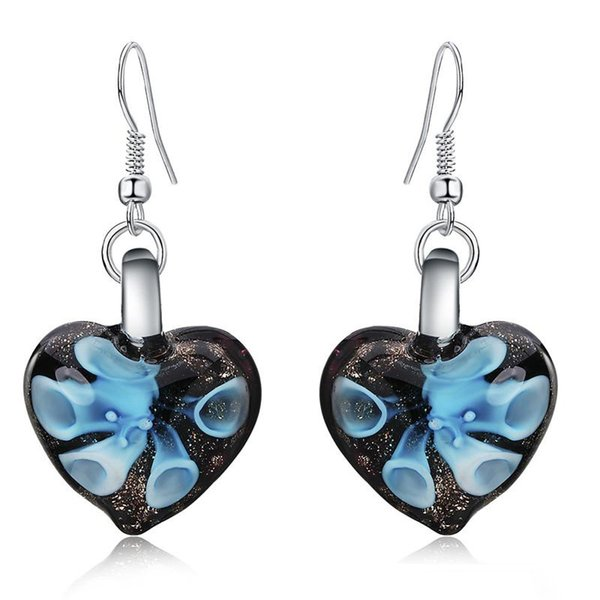 Elegante 3 Farben Herz Murano Glas Floral Dangle Ohrring Mode Ohrringe Luxus Designer Ohrring Designer Schmuck große Creolen