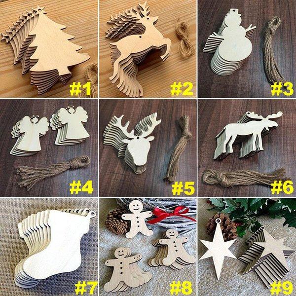 10 pz / lotto Albero Di Natale Ciondolo Set Woodiness Pupazzo di Neve Forma Decorazioni Arti E Mestieri Per Festa Festa Ornamenti Per La Casa 2018 Nuovo