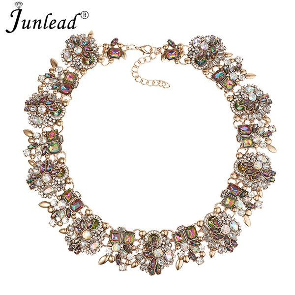 junlead New Gift Fancy Charm Gem Necklace Pendants Vintage Luxury Maxi Alloy Statement Fashion Crystal Necklace For Female 2018