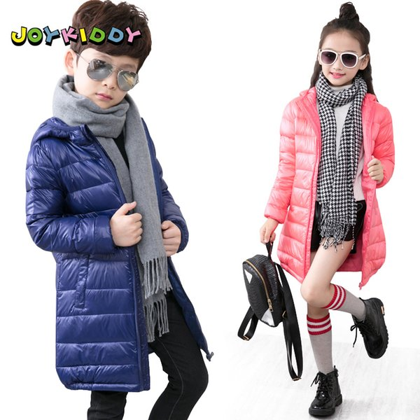 Girls Boys Winter Long Jacket Fashion Solid Duck Down Hooded Coats Slim Warm Kids Parka Jacket for Children 3-9 Years Outerwear