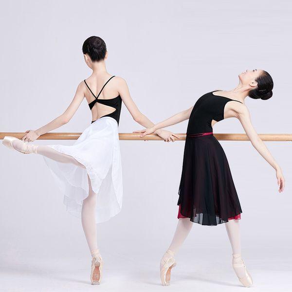 Dans için Kadınlar Uzun Bale Wrap Etek 2 Katmanlar Lirik Şifon Etek