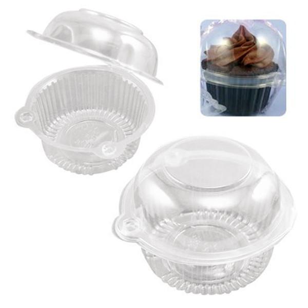 Gran venta !!!! 100 unids / set Owl Clear Plastic Cupcake Container Muffin Pod Dome Holder Box Cake Case, color transparente