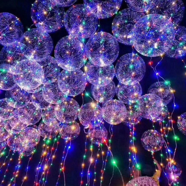 LED Air Balloon String Lights Flasher Lighting wave Ball 18inch Helium Balloons Toy Party Wedding Celebrate Christmas Halloween Decoration T