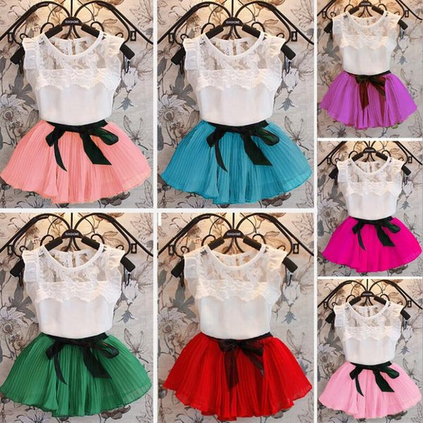 Girls skirt set Chiffon skirt for baby girl children fashion clothing short sleeve T-shirt tops+skirts 2pcs kids suit 7 colors
