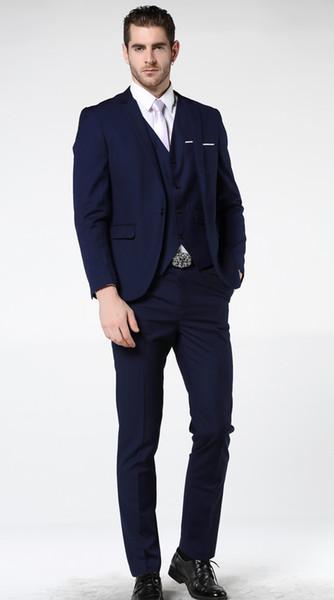 New men's suit men's business formal suit luxury party suit (coat + pants + vest) wedding groom groomsmen dress.