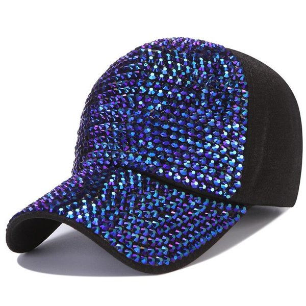 Seioum Fashion Women'S Rhinestone Hats Luxury Female Baseball Cap Bling Diamond Cap Swag Casquette Girl Snap Back Gorras
