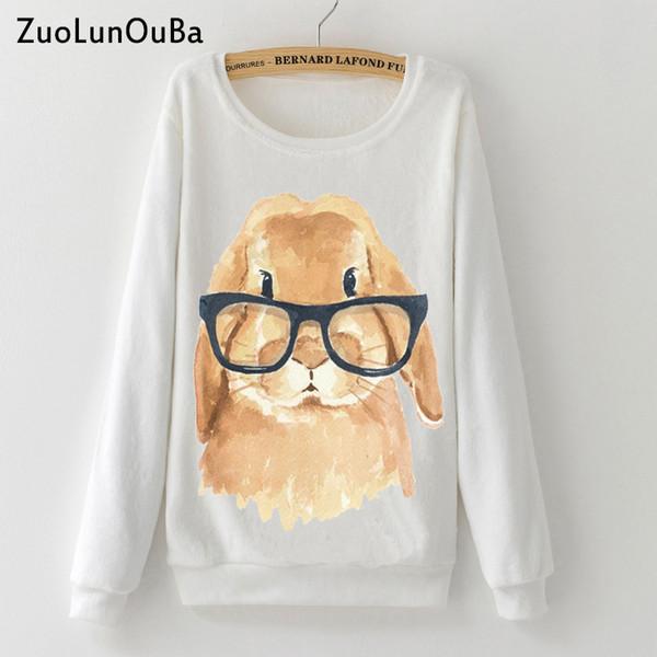Zuolunouba Cute glasses rabbit print Woman Hoodies Sweatshirt 2018 Winter Soft Flannel Warm Casual girl Pullover Long sleeve top