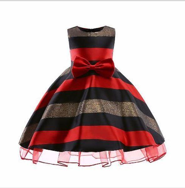 Best-selling new summer girl's bow tie dress striped bra dress dress 100-150cm