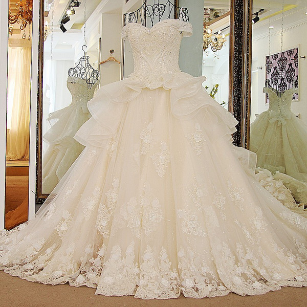 2019 New Black Lace Bolero Ls32588 More Layers Wedding Dresses Sexy Off The Shoulder Sweetheart Luxury Puffy Ball Gown Bridal Real Pictures