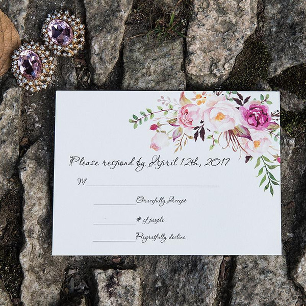 Personalized RSVP Card Response And Reception Customized Insert With Envelope