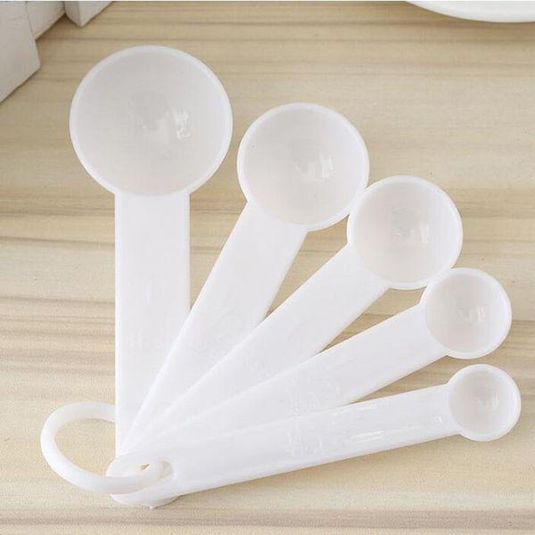5 pçs / set Plástico Colher De Medição Conjunto De Ferramentas De Cozinha De Café Colher De Café Colher De Chá De Salada De Cozinha Utensílio ZA6157