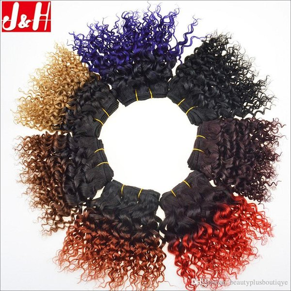 Cheap 8inch Ombre Human Hair Weave Kinky Curly Brazilian Hair Bundles Black 1B 27 33 Ombre Color Red Burgundy Blonde Brown Purple Blue