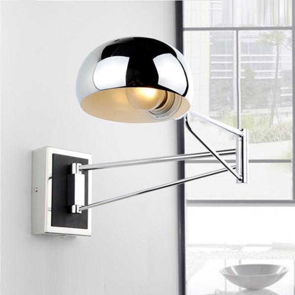 Chrome Wall Sconce Bedside wall fixtures Lighting for bedroom modern Swing Arm lamp Reading Lights Mirror E14 Led Arandela
