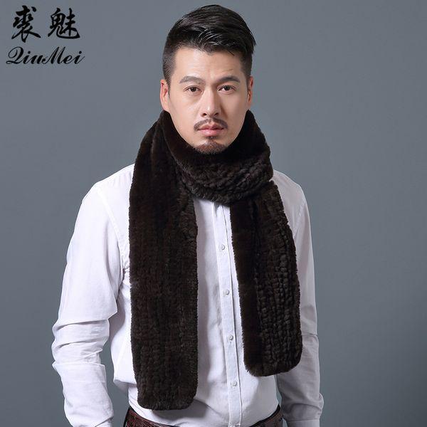 2018 New Fashion Men Scarves Winter Warm Knit Natural Rex Rabbit Fur Scarf For Men Soft Warm Winter Male Real Fur Scarves Wraps