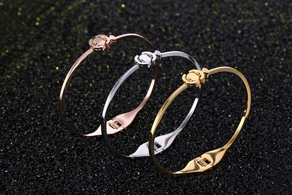 Classic Women Plain Bracelet 3 Colors 18K Rose Gold Bangle For Daily Wearing Best Gifts For Party, Anniversary