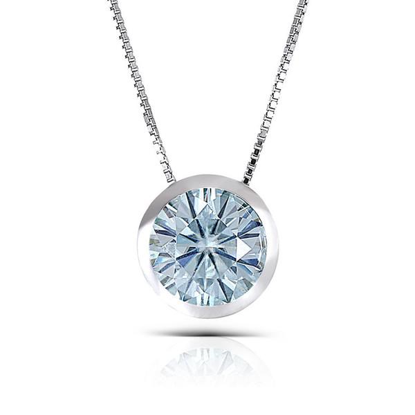 Transgems Platinum Plated Silver 3CTW 9mm Round Brilliant Moissanite Pendant Necklace Bezel Setting for WomenX82301