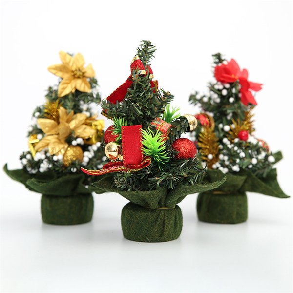 20 Cm Christmas Mini Tree Decoration Home Decor Xmas Gifts For Childrens Christmas Ornament Artificial Tree With Accessory