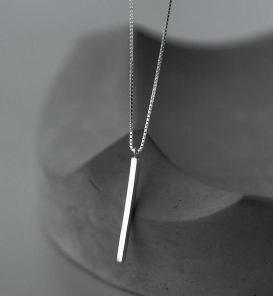 femmes réelles. Bijoux en argent sterling 925 poli Cube carré Chanceux Bar collier goutte pendentifs charme GTLX1191
