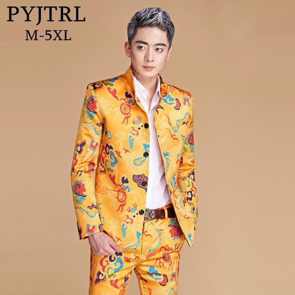 PYJTRL Mens Plus Size 5XL Chinese Tunic Suit Gold Dragon Print Stand Collar Slim Fit Wedding Bridegroom Tuxedo Singer Clothing