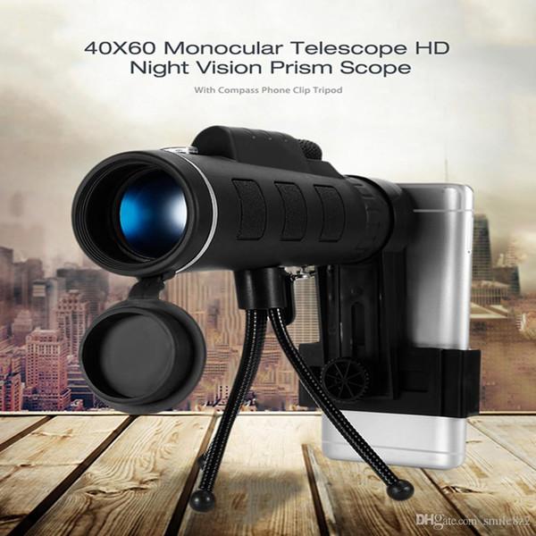 40X60 HD Mini Day e Night Vision Telescopio monoculare con clip da treppiede palmare ottico monoculare campeggio esterno B