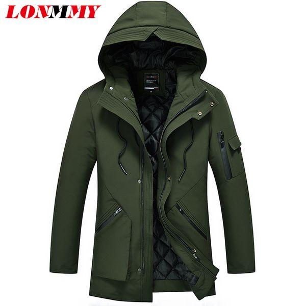 Großhandel LONMMY 5XL Winter Jacken Herren Parka Männer Verdicken Mäntel Männlichen Kausalen Oberbekleidung Streetwear Grau Schwarz Armee Grün