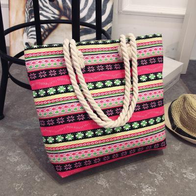 2018 explosion models simple wild shoulder bag wavy stripes print multiple style canvas bag Linen Rope Handbags Beach Bag