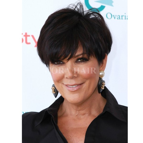100% unprocessed virgin brazilian glueless full lace short human cut hair wigs with bangs short lace front wig for black women